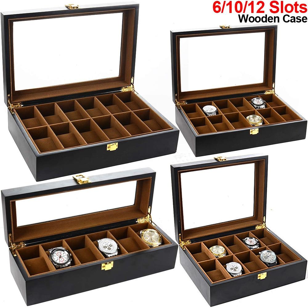 6/10/12 Slots Watch Box Black Wooden Watch Case Watch Display Case Storage Organizer Glass Top Luxury Collector Storage Case D40