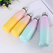 Gradient Candy Color Water Bottle Cute Kids Water+Bottles Insulated Cup Thermos Flask Steel Drink For Shaker Gym