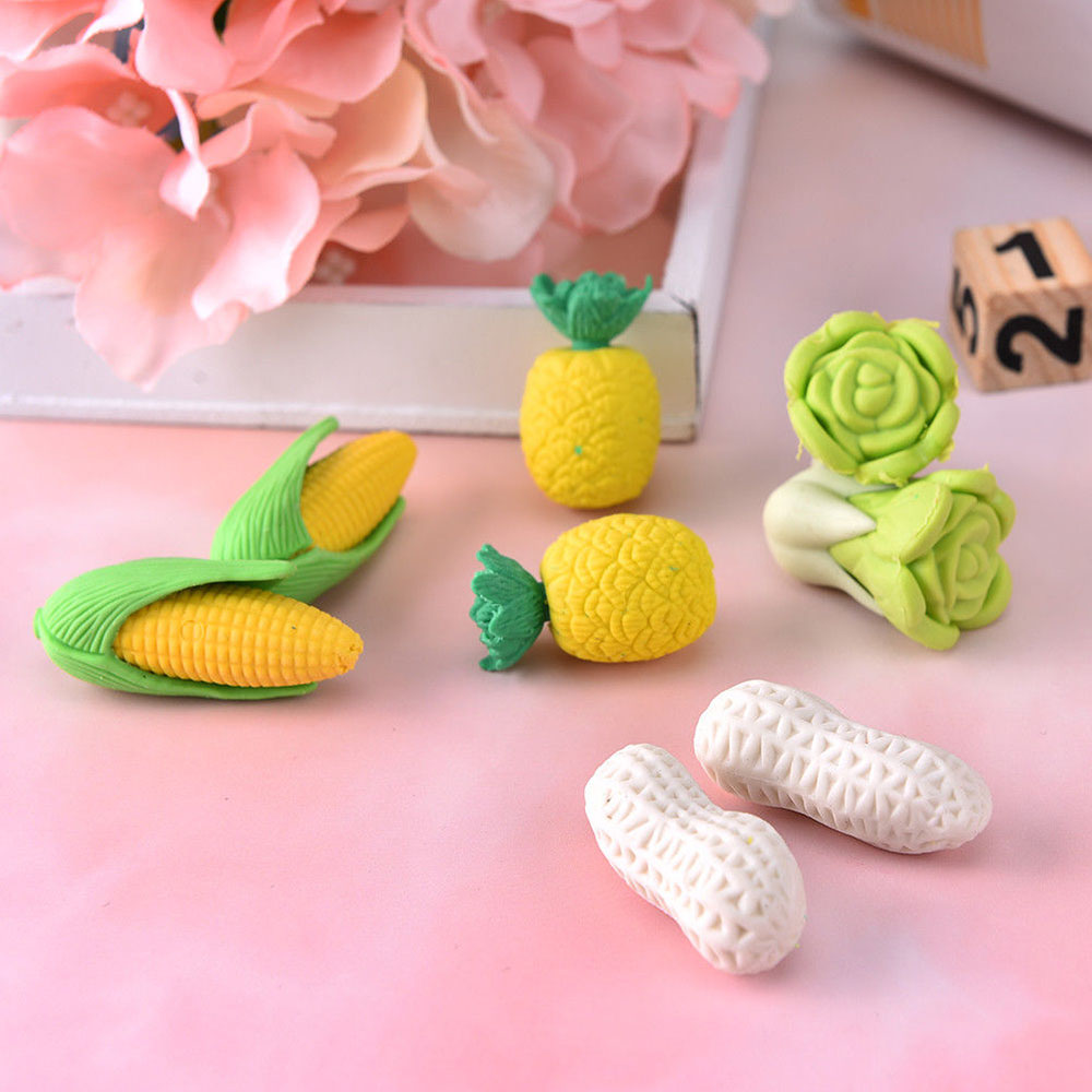 2 Pcs/lot Pencils For Vegetables Cabbage Pineapple Corn Peanuts Eraser Rubber For Children Gifts Non-toxic Safe Material Gifts