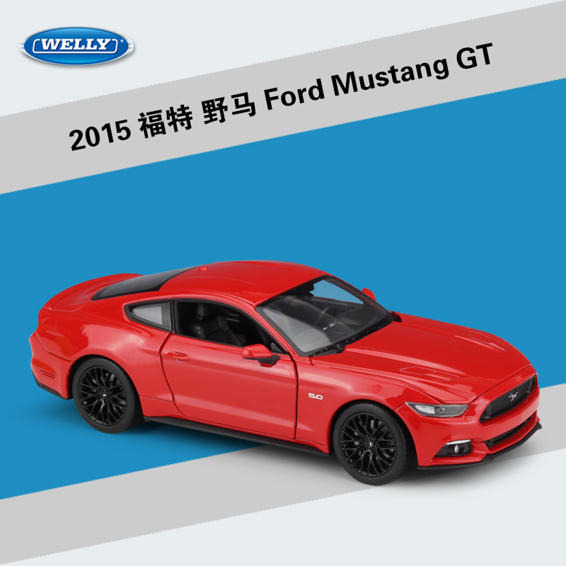 WELLY 1/24 Car 2015 <font><b>Ford</b></font> <font><b>Mustang</b></font> GT Simulation Metal Diecast Model Sports Car Kids Toys Gifts image