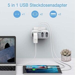 Image 4 - Tessan EUソケット付き充電アダプター,家庭,オフィス用の2つのUSBポートを備えた3つのコンセント