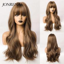Jonrenau onda longa marrom escuro loira ombre perucas sintéticas com franja festa uso diário cosplay peruca para cabelo encaracolado natural feminino