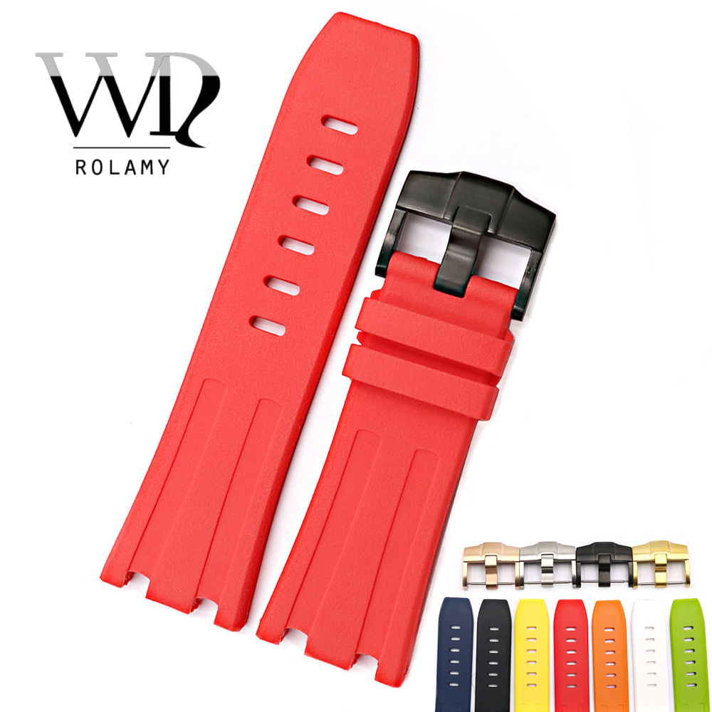 Rolamy 28mm Waterproof Silicone Rubber Replacement Wrist Watch Band Strap For Audemars Piguet 42mm Royal Oak Offshore