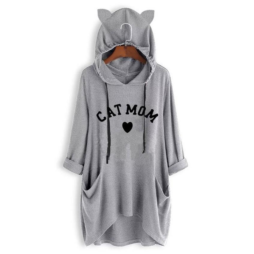 Arrival T Shirt For Women Mid Sleeve Hooded T Shirt Cat Paw Letters Print Top Women T Shirt Harajuku Cropped Funny Cotton Cute in T Shirts from Women 39 s Clothing