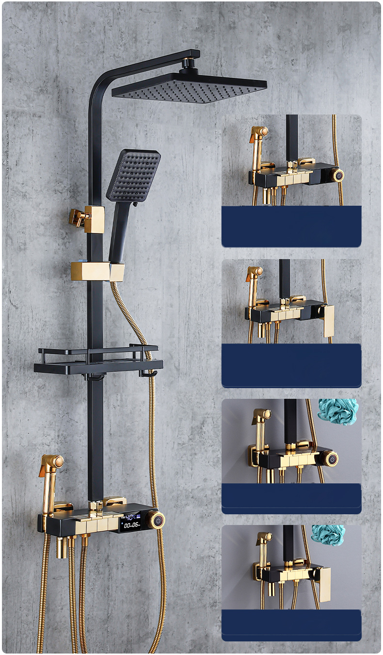 H7fbb7f1cdbab404dbdc55fe54f1d47b4W Piano Digital Bathroom Shower Set SDSN 12 Inch Rainfall Shower Head Solid Brass Bathroom Faucets Matte Black Thermostatic Shower