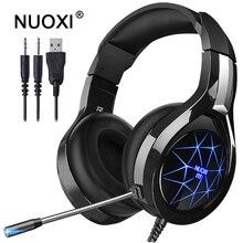Auriculares profesionales para videojuegos, estéreo, graves profundos, con retroiluminación LED y micrófono para PC y jugadores