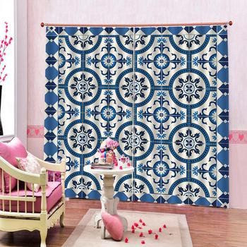 3D Digital print Blue fabric curtain for living room bedroom balckout curtains home drapes