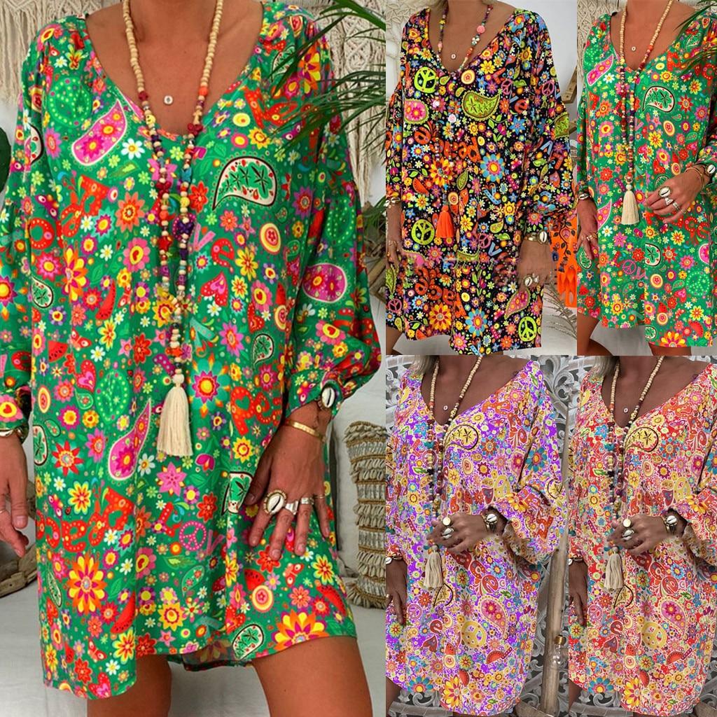 Plus Size Summer Women Dress Boho Floral Long Sleeve Dress Holiday Beach Shirt Dress Ladies Print Irregular Dress #F