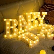 Dekoracja wnętrz litera DIY Symbol znak serce plastikowe diody LED dekoracja biurka litery Ornament na ślub prezent na walentynki