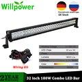 Willpower 32 дюйма 180 Вт внедорожный светодиодный двухрядный комбинированный луч дальнего света Противотуманные фары с комплектом проводки 4x4 4WD ...