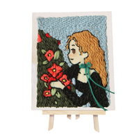 DIY Knitting Wool Rug Hooking Kit Handcraft Embroidery Gift with Punch Needle Scissor Wooden Frame Girl Romantic Flower Season