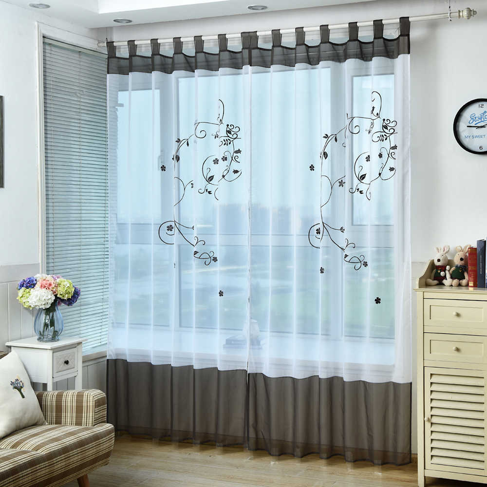 high quality sheer window tulle embroidered curtains ready made voile organza curtains panels bedroom gauze curtains dl009 b