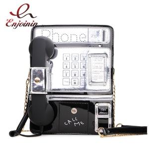 Image 1 - Black & Red Patent Leder Telefon Stil Frauen Mode Kette Geldbörsen und Handtaschen Schulter Tasche Umhängetasche Messenger Bag 2020 Geldbörsen