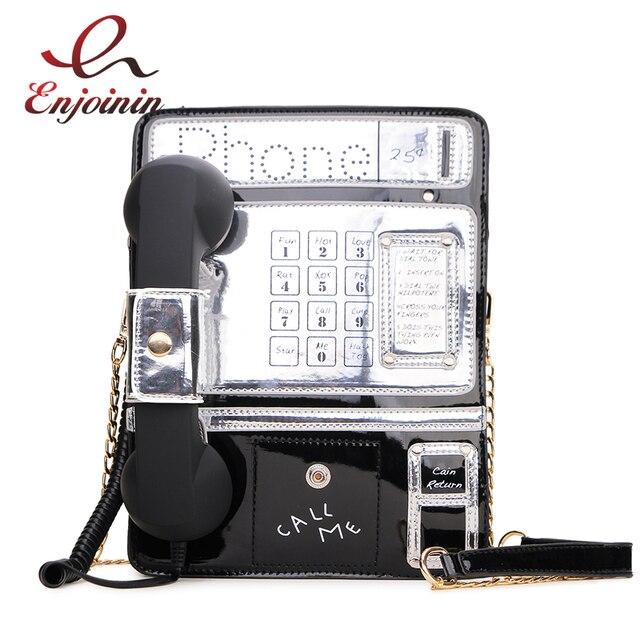 Black & Red Patent Leder Telefon Stil Frauen Mode Kette Geldbörsen und Handtaschen Schulter Tasche Umhängetasche Messenger Bag 2020 Geldbörsen