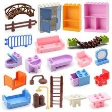 Grandes blocos de construção série peças mesa cama sofá cadeira cerca escada ponte banheira acessórios tijolos diy brinquedos para crianças presentes