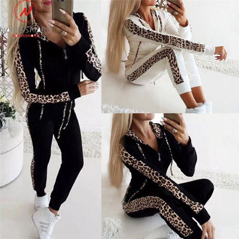 Women Autumn 2 Piece Outfits For Streetwear Leopard Patchwork Design Hoodies Decor Slim Zipper Top+Elastic Waist Pencil Pants