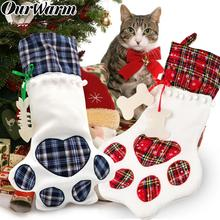 OurWarm Plaid Christmas Gift Bags Pet Dog Cat Paw Stocking Socks Xmas Tree Hanging Ornaments New Year Gift Christmas Stockings cute deer patterned christmas new year socks for pet cat dog white red size m 4 pcs