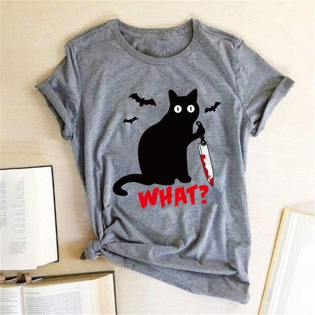 Black Cat What Tshirt Murderous Cat Knife Women Funny T Shirt Short Sleeve Halloween Tops Tees