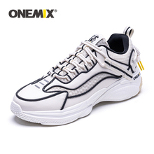 цены ONEMIX Men Sneakers Retro Running Shoes Sewing Thread Outdoor Walking Shoes Comfortable Athletic Shoes Men Sport Free Shipping