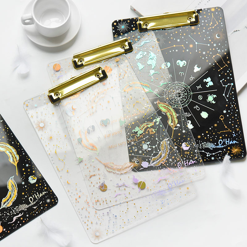 A4 Folder Clipboard Starry Sky Writing Pads Transparent  Document Holder Student Backing Board Office File Clip Stationery