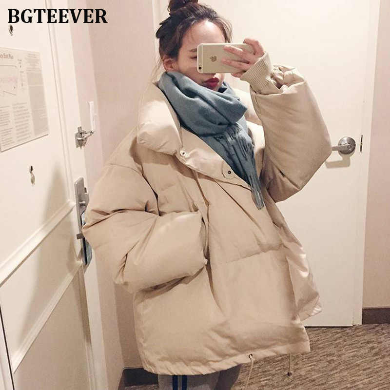 BGTEEVER Women Parkas 2019 Korean Chic Stand Collar Thicken Winter Coat Jacket Women Warm Down Cotton Padded Parkas Coats Female