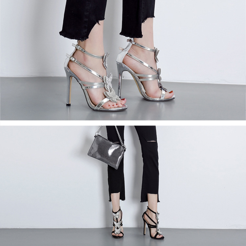 Elegant Hollow Roman Sandals Women Shoes Fashion Rhinestone Bow Women High Heel Shoes Sexy Heels Ladies Wedding Shoes VT1093 (18)