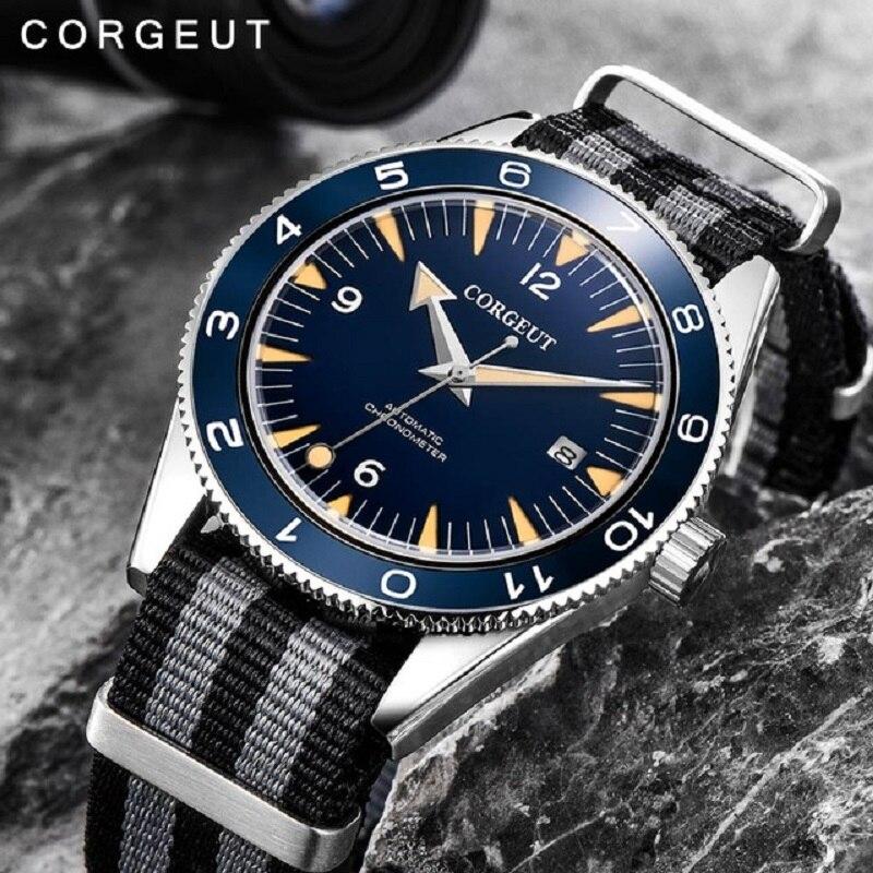 Corgeut 럭셔리 브랜드 seepferdchen 군사 기계식 시계 남자 자동 스포츠 디자인 시계 가죽 기계식 손목 시계 41mm-에서기계식 시계부터 시계 의  그룹 3