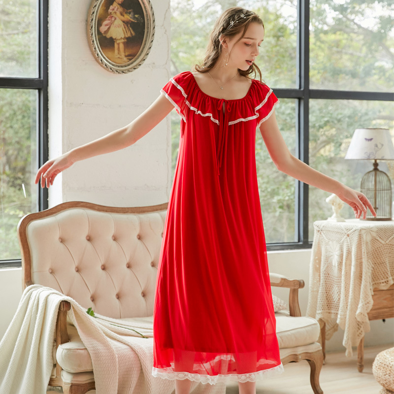 Roseheart Women Fashion Female Red Black Sexy Sleepwear Nightdress Long Lace O Neck Nightwear   Sleepshirts     Nightgown   Sleepwear