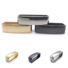 40mm Brass Belt Keeper D Shape Square Belt Strap Loop Ring Buckle for Leather Craft Bag Strap Belt Accessories gold silver black