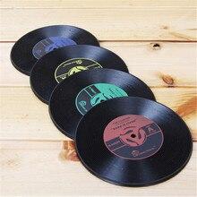 4 Uds. Posavasos redondos antideslizantes resistentes al calor Vintage CD vinyl para bebidas grabadas posavasos de bebidas posavasos taza de café almohadilla alfombrilla de mesa