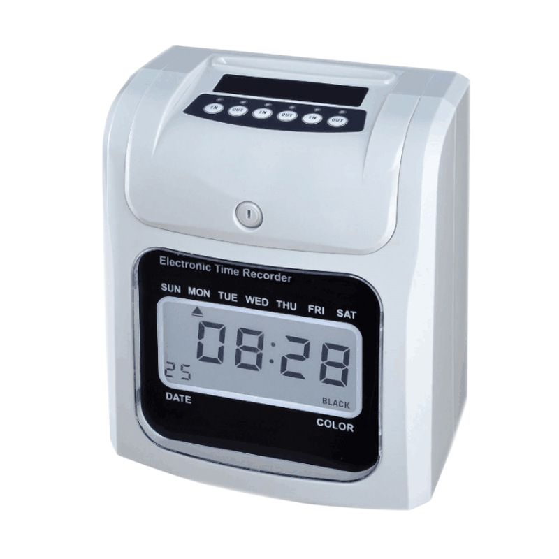 English paper ID card punching machine Electronic attendance machine LCD / clock face attendance machine With built-in battery