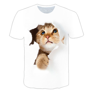 Nowa moda chłopcy dziewczyna biały czarny 3D kot koszulki z krótkim rękawem 24 wzory koszulki dla dzieci dla 3-14Years dziewczyny topy pies koszulki chłopięce koszulki tanie i dobre opinie BIAOLUN Poliester spandex CN (pochodzenie) Zwierząt REGULAR O-neck tops Tees Pasuje prawda na wymiar weź swój normalny rozmiar