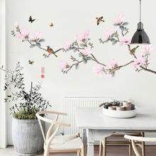 Наклейки на стену с рисунком цветов древесная птичка Спальня