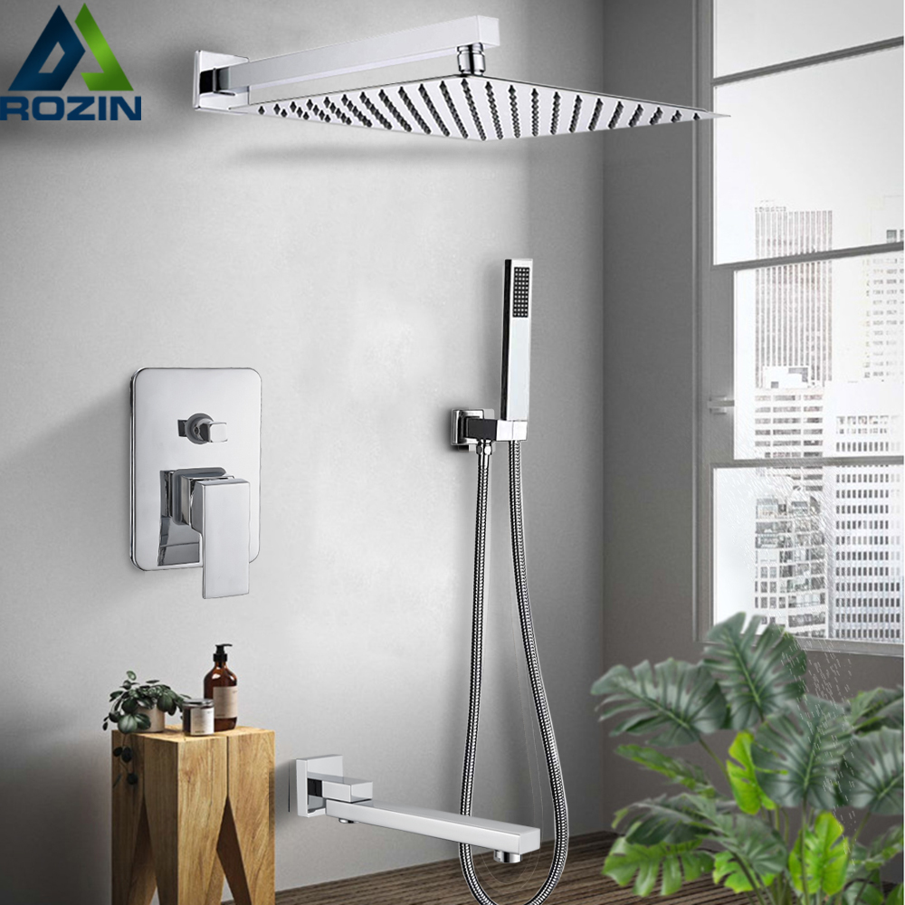 Rozin Wall Mount Rainfall Shower Faucet Set Chrome Bathroom Concealed Waterfall Shower System with Swivel tub Spout Mixer Tap(China)