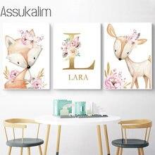 Animais da floresta raposa cervos impressão da arte da parede nome personalizado cartaz do berçário pintura em tela nordic menina quarto decoração pinturas