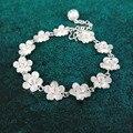 Bastiee flor mão corrente 999 prata esterlina pulseira artesanal miao luxo jóias chinês hmong prata pulseiras para as mulheres