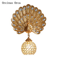 Retro romantic Colorful Peacock open screen wall lamp living room background wall corridor luxury led Phoenix crystal wall lamp