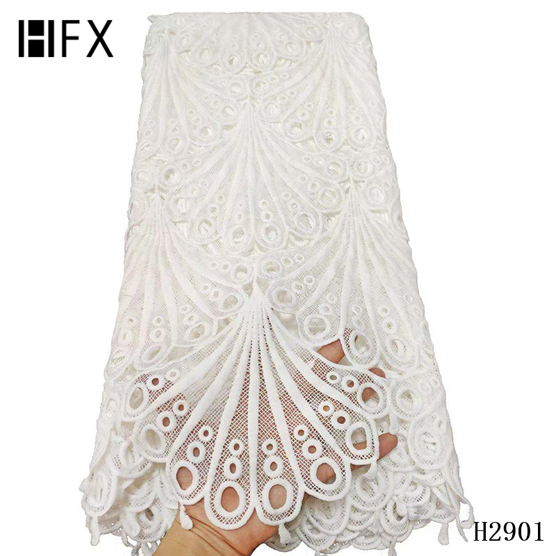 Image 2 - HFX 2019 latest african guipure lace white water soluble chemical lace fabric,high quality african cord lace free shipping H2311-in Lace from Home & Garden