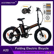 AOSTIRMOTOR Электрический велосипед 500 Вт 4,0, толстая шина, Пляжный круизер, электрический велосипед, 36 В, литиевая батарея, складные мужские и жен...