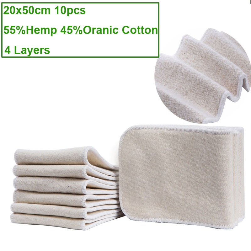 10pcs Washable 4 Layers Hemp Cotton Cloth Nappy Liner Super Absorbent Reusable Incontinence Adult Diaper Insert Pad 20x50cm