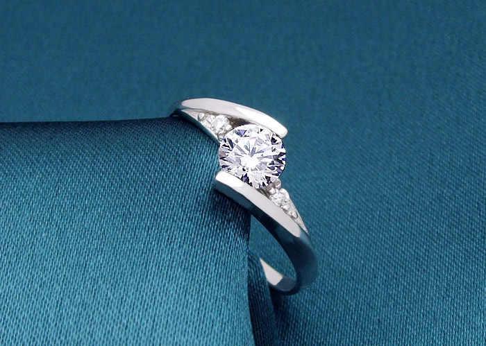かわいい女性の小さなジルコン石リングシルバー 925 ウェディングジュエリー約束の婚約指輪 2019 バレンタインデーのギフト