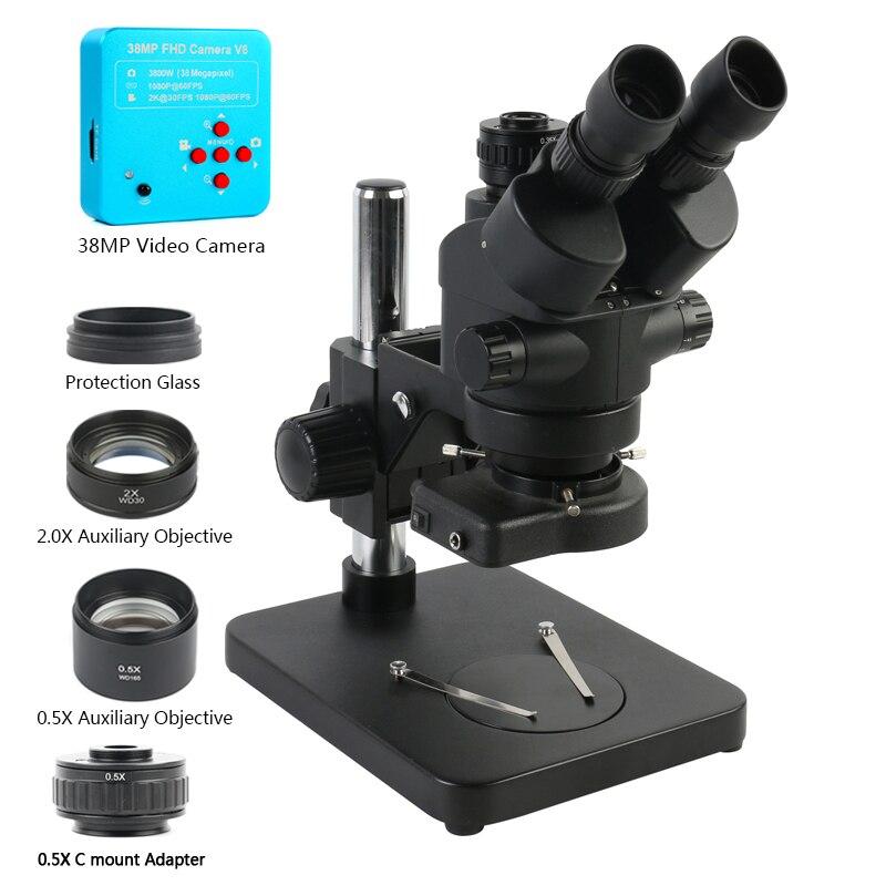 Noir 7X-45X 3.5X-90X Microscope stéréo trinoculaire à Zoom Focal Simul + objectif auxiliaire 0,5x 2X + caméra vidéo HDMI USB 38MP