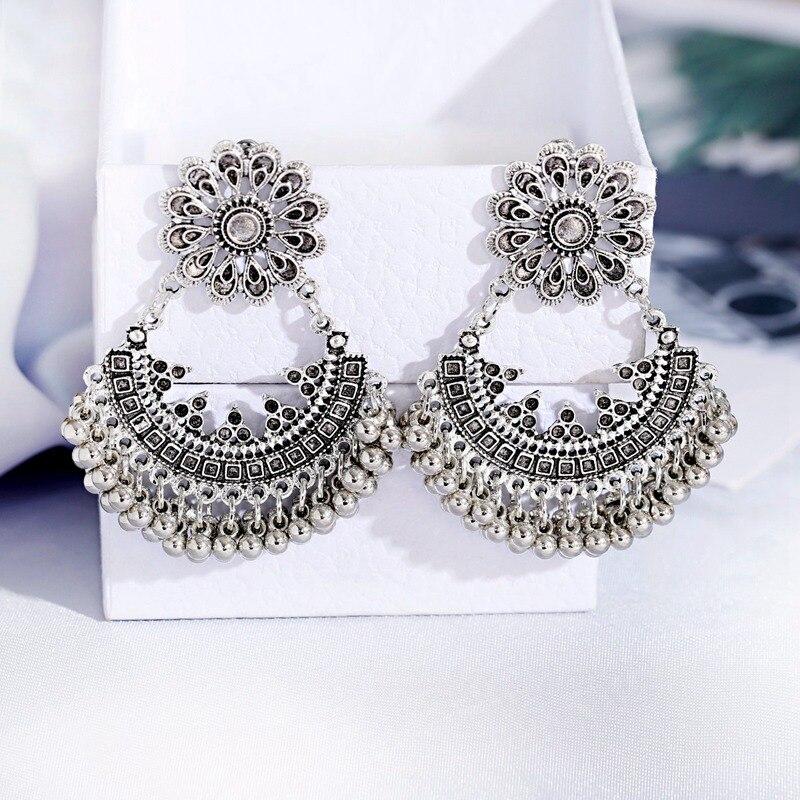 Классический Серебряный цветок Цвет турецкий изделия из Индии, серьги кольца для женщин в винтажном стиле павлин цветок бусины кисточкой сережки Oorbellen|Серьги-подвески|   | АлиЭкспресс