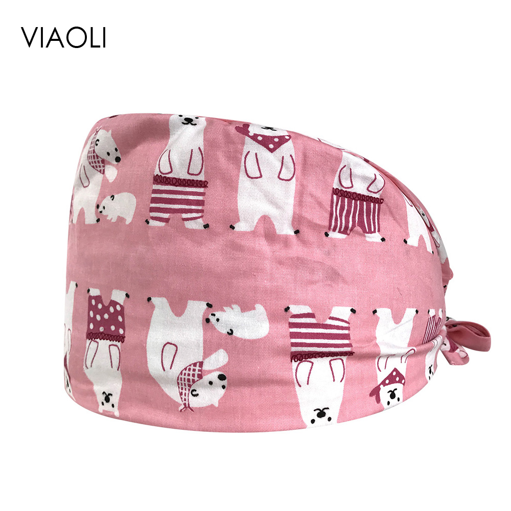 Doctor Nurse Operating Room Hat Frosted Baotou Caps Medical Oral Dental Print Cotton Thin Section Doctor Nurse Caps Multipurpose