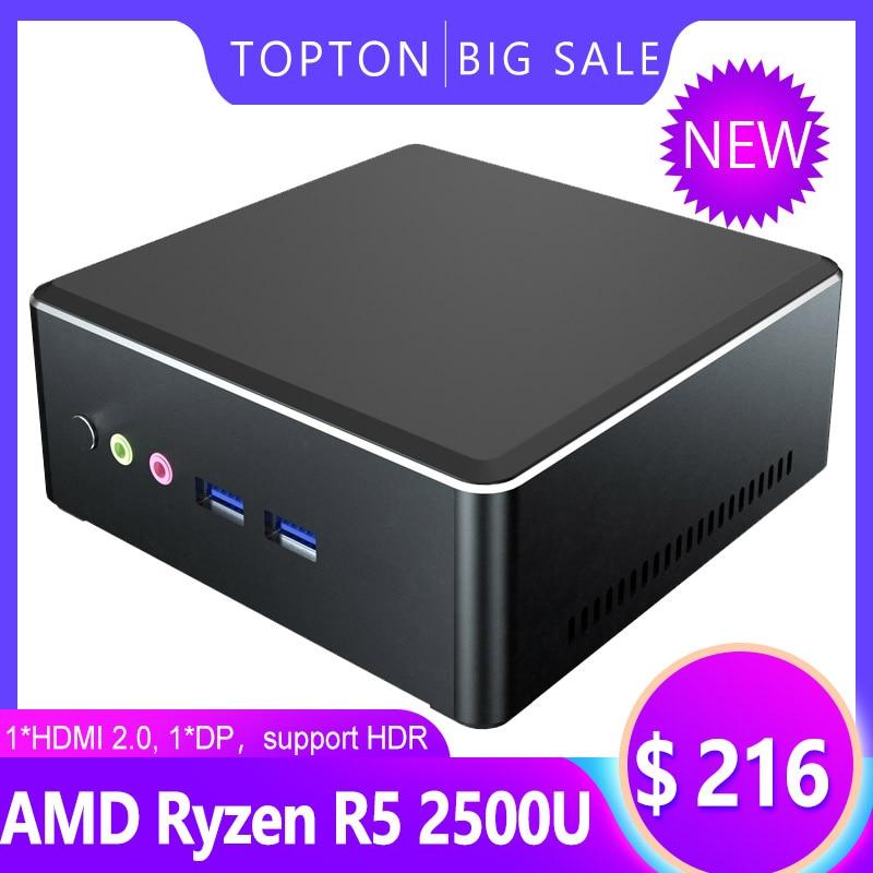 Topton mais barato mini pc amd ryzen r5 3550h r3 2200u vega gráfico 2 * ddr4 jogos computador windows 10 4k htpc hdmi2.0 dp ac wifi