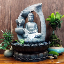 Hot 30CM 110V Home Decorations Resin Flowing Water Waterfall Fountain Buddha Statue Lucky Feng Shui Ornaments Landscape Decors dai yutang best selling home office feng shui ornaments ceramic buddha 12 inch maitreya d06 68