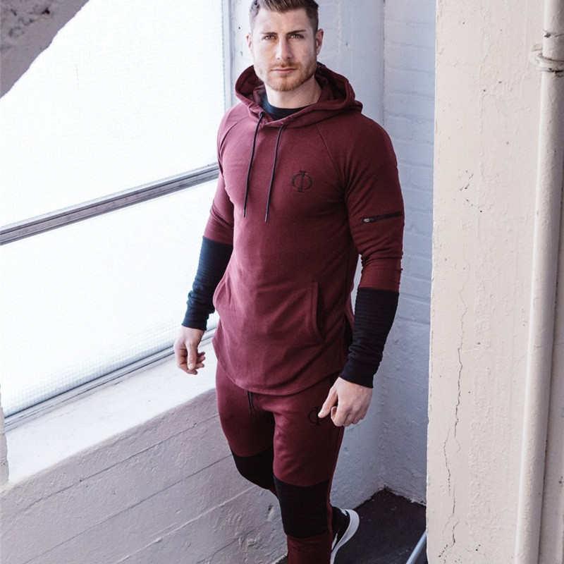 Nuevo conjunto de ropa deportiva para correr para hombre, conjunto de ropa deportiva para gimnasio, chándal, culturismo, hombre, sudaderas con capucha y pantalones, Jogger hombres