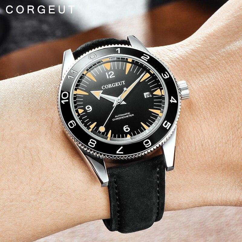 Corgeut 럭셔리 브랜드 seepferdchen 군사 기계식 시계 남자 자동 스포츠 디자인 시계 가죽 기계식 손목 시계 41mm-에서기계식 시계부터 시계 의  그룹 2