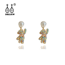 DREJEW Cute Small Bear Rhinestone Pearl Statement Dangle Earrings 2019 925 Alloy Drop for Women Fashion Jewelry HE9641