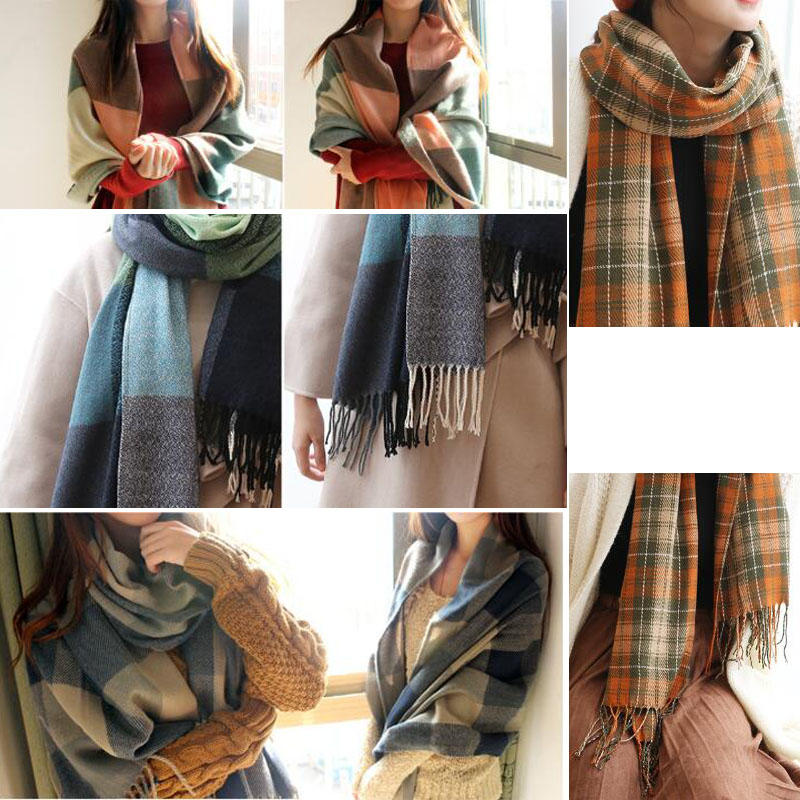 Women Plaid Cashmere Scarves With Tassel Lady Winter Autumn Long Scarf High Quality Female Shawl Warm Plush Neckerchie